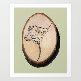 Devil Ray Wood Slice 2 Art Print