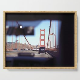 From the Backseat, Driving Across the Golden Gate Serving Tray