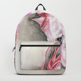 Purple Pink Andalusian Horse Equine Watercolor Art Backpack