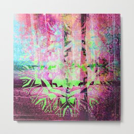 252 19 Green and Purple Abstract Tribal Metal Print