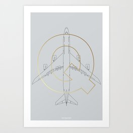 747 technical drawing plane Art Print