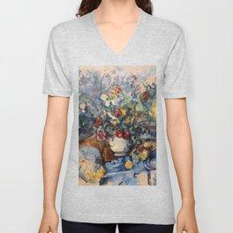 """Paul Cezanne """"A Large Bouquet of Flowers """" Unisex V-Neck"""