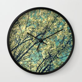 Ivory Blossoms Teal Sky Wall Clock