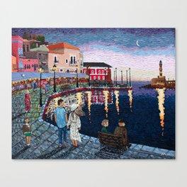 Greece: A Night in Chania, Crete Canvas Print