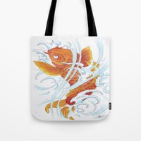 koi fish Tote Bags featuring Koi Fish by Give me Violence