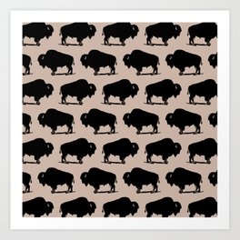 Buffalo Bison Pattern 265 Beige and Black Art Print