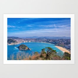 La Concha Bay seen from Igeldo Mount. Art Print