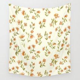 Orange Vintage Floral Pattern Wall Tapestry