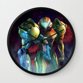 Double Art Metroid | Samus Aran Wall Clock