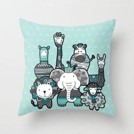 Doodle Animal Friends Aqua & Grey Throw Pillow