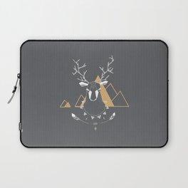 Christmas Geo Deer Gray Laptop Sleeve