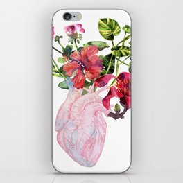 Human heart with flowers, plant and leaf, watercolor iPhone Skin