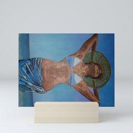 Woman Wearing Hat And Sarong  Enjoying Summer Mini Art Print