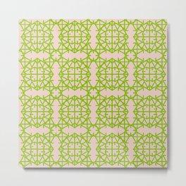 Diamond Bug Pattern Greenery - Pale Dogwood Metal Print