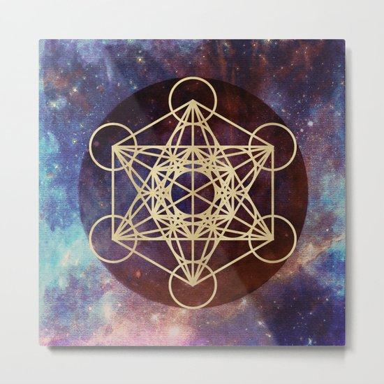 Metatron Mandala Moon Gold Bronze Copper Metal Print