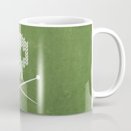 Knitted Skull - White on Olive Green Coffee Mug