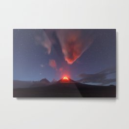Beautiful mountain landscape, night view of eruption active volcano on Kamchatka Peninsula Metal Print