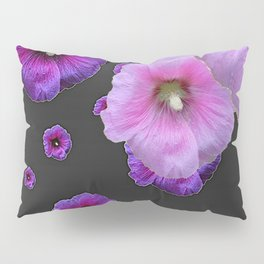 ASYMMETRICAL  PINK-PURPLE  HOLLYHOCKS ON DARK CHARCOAL GREY ART Pillow Sham