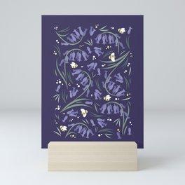 Bluebells and bumblebees - Violet Mini Art Print