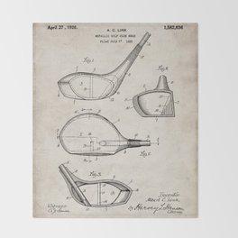 Golf Driver Patent - Golf Art - Antique Throw Blanket