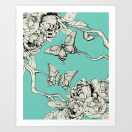 Turquoise Vintage Style Ink Drawing Butterflies Art Print