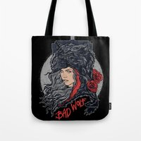 bad wolf Tote Bags featuring Bad Wolf by zerobriant
