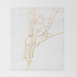 MUMBAI INDIA CITY STREET MAP ART Throw Blanket
