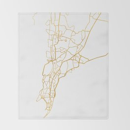 MUMBAI INDIA CITY STREET MAP ART Throw Blanket