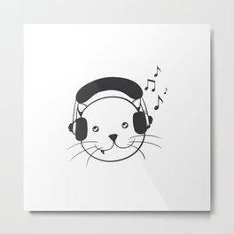 Music Headphones Cat Metal Print