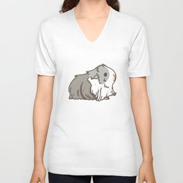 Carrot and Silkie Guinea Pig pattern in White Background Silkie Guinea Pigs illustration Unisex V-Neck