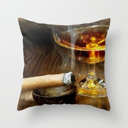 Cigar And Cordial Painting Cigars Throw Pillow