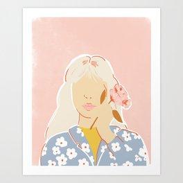 Girl and her Flower Art Print