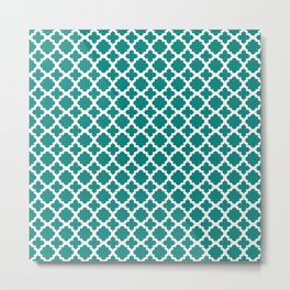 Lattice Teal on White Metal Print