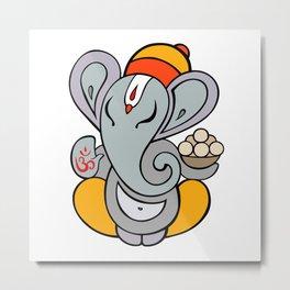 Hindu God Ganapati (Ganesha). Hand drawn illustration. Metal Print