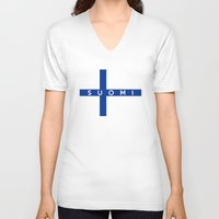 finland V-neck T-shirts featuring finland finnish country flag suomi name text by tony tudor