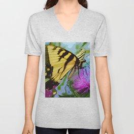 Yellow butterfly beauty 2 Unisex V-Neck