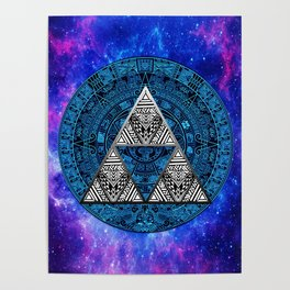 Triforce Circle With Blue Nebula Poster
