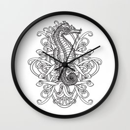 Seahorse and Curlicues Wall Clock