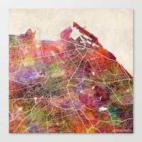 edinburgh Canvas Prints featuring Edinburgh by MapMapMaps.Watercolors