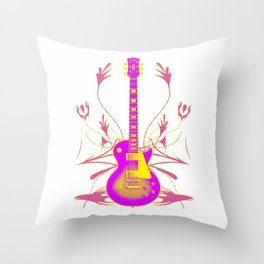 Guitar With Tribal Graphics Throw Pillow