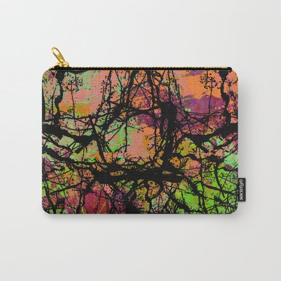 Cracks And Colour - Pastel orange, blue and green abstract with black marble effect Carry-All Pouch