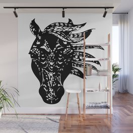 Black and white horse Wall Mural