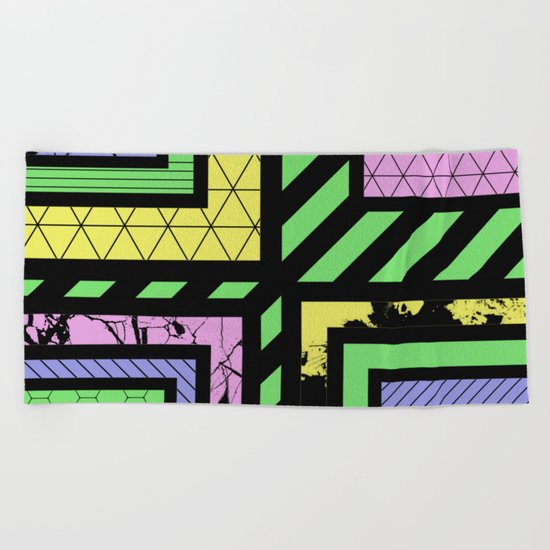 Pastel Corners (Abstract, geometric, textured designs) Beach Towel