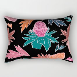 Tropical Ginger Plants in Coral + Black Rectangular Pillow