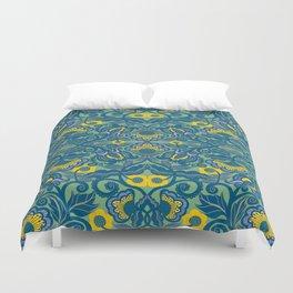 Blue Vines and Folk Art Flowers Pattern Duvet Cover
