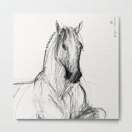 Horse (Silver - portrait) Metal Print