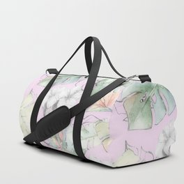 Soft Pastel Pink Tropical Pattern Duffle Bag