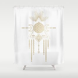 Golden Goddess Mandala Shower Curtain