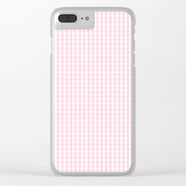 Mini Soft Pastel Pink and White Gingham Check Plaid Clear iPhone Case