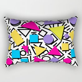 Seamless colorful abstract geometric pattern in 80th retro memphis style Rectangular Pillow